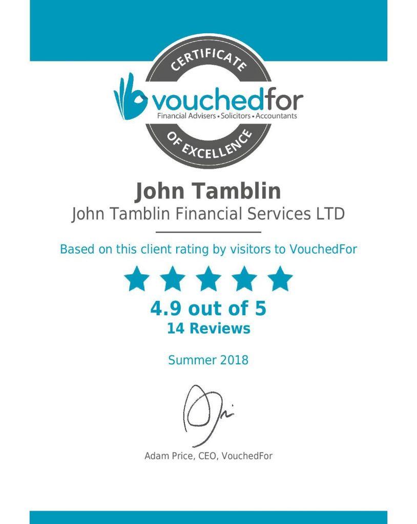 Certificate of Excellence for John Tamblin